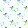 Seamless vector pattern with animals. Symmetrical background with colorful birds, leaves and flowers on the light backdrop Royalty Free Stock Photo