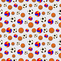 Seamless vector pattern, background with elements of colorful balls for football, volleyball and soccer Royalty Free Stock Photo
