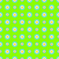 Seamless vector pattern background with elements of flowers over green backdrop Royalty Free Stock Photography