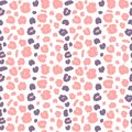 Cute seamless vector pattern background illustration with pink and violet animal print with leopard dots