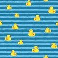 Seamless vector pattern - bath ducks on blue stripes