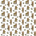 Seamless vector pattern with bears, honey pots and bees