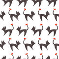 Seamless vector pattern, black and white background with cats, black silhouette with red bows over white backdrop Royalty Free Stock Photo