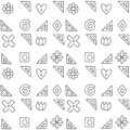 Seamless vector pattern, black and white geometric background with flower, leaf, hearts, cross, square. Print for decor, wallpaper