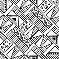 Seamless vector pattern. Black and white geometrical background with hand drawn decorative tribal elements. Print with ethnic, fol