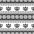Seamless vector pattern. Black and white traditional etno background. Royalty Free Stock Photo