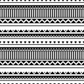 Seamless vector pattern. Black and white traditional etno background Royalty Free Stock Photo