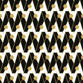 Seamless vector pattern with black zig zag and golden lines and circles