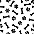 Seamless vector pattern - bones and traces of paws