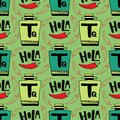 Seamless vector pattern with bottle of tequila and pepper on green background. Holla - hello in spanish .