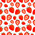 Seamless vector pattern,  bright chaotic background with strawberry Royalty Free Stock Photo
