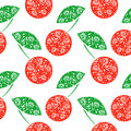 Seamless vector pattern bright fruits background with decorative ornamental closeup cherry on the white backdrop series of Royalty Free Stock Images