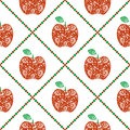 Seamless vector pattern, bright fruits symmetrical background with red decorative ornamental apples and rhombus, on the white ba