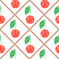 Seamless vector pattern bright symmetrical fruits background with decorative ornamental cherry on the white backdrop series of Stock Photography