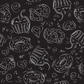Seamless vector pattern cakes background sweet illustration Stock Image