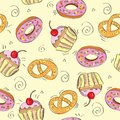 Seamless vector pattern cakes background sweet illustration Stock Photo