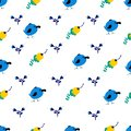 Seamless vector pattern with cartoon birds and flowersc figures in bright colors.