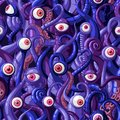 Seamless vector pattern of cartoon eyes and tentacles of monsters with blue and purple skin and pink eyes. Royalty Free Stock Photo