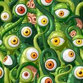 Seamless vector pattern of cartoon eyes and tentacles of monsters with green skin, orange and yellow eyes. Royalty Free Stock Photo
