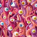 Seamless vector pattern of cartoon eyes and tentacles of monsters with pink skin, blue and yellow eyes Royalty Free Stock Photo