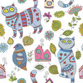 Seamless vector pattern with cats, birds, leaves and flowers
