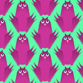 Seamless vector pattern, childlike cute flat design background with funny owl birds Royalty Free Stock Photo