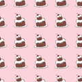 Seamless vector pattern of chocolate cakes