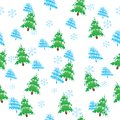 Seamless vector pattern, christmas trees Stock Photos