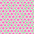 Seamless vector pattern with circles. Green and pink abstract background with hand drawn elements.