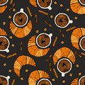 Seamless vector pattern with coffee beans, cinnamon, cup of coffee and croissant.