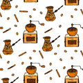 Seamless vector pattern with coffee beans, cinnamon, turka and coffee mill.