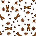 Seamless vector pattern with coffee grains, cinnamon sticks and stars anise.