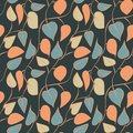 Seamless vector pattern with colored leaves on dark background