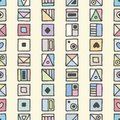 Seamless vector pattern, colorful background with different hand drawn symbols, decorative doodle squares. Symmetrical cute orname