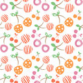 Seamless vector pattern with colorful different decorative ornamental cherries on the white background. Royalty Free Stock Photo