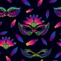 Seamless vector pattern with colorful feathers and masks