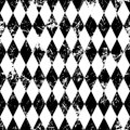 Seamless vector pattern. Creative geometric black and white background with rhombus Royalty Free Stock Photo