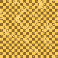 Seamless vector pattern. Creative geometric checkered brown background with squares. Royalty Free Stock Photo