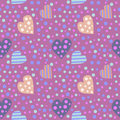Seamless vector pattern. Cute background with colorful hearts and dots on the violet backdrop Royalty Free Stock Photo