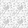 Seamless vector pattern. Cute black and white background with hand drawn cats, mouses and flowers. Royalty Free Stock Photo