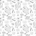 Seamless vector pattern. Cute black and white background with hand drawn chickens and flowers. Royalty Free Stock Photo