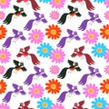 Seamless vector pattern with cute cartoon birds and flowers