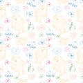 Seamless vector pattern. Cute colorful background with hand drawn chickens and flowers. Royalty Free Stock Photo