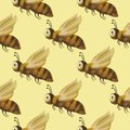 Seamless vector pattern with cute 3d insect.