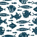 Seamless vector pattern with cute fishes. Funny fish with big eyes. For pattern fills, wallpaper, print for clothes, For