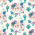 Seamless vector pattern with a cute llama wearing a flower crown inside a floral and cactus wreath