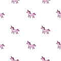 Seamless vector pattern of cute purple unicorn