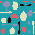 Seamless vector pattern with desserts