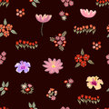 Seamless vector pattern with different floral elements.