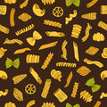 Seamless vector pattern of different types of colored pasta Royalty Free Stock Photo